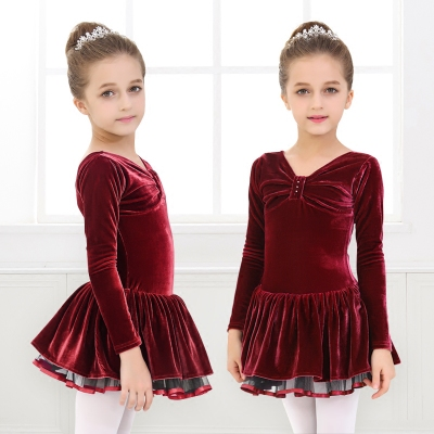 Children's long-sleeved ballet dance dress practice clothes girls velvet dance skirt ballet skirt skating dress