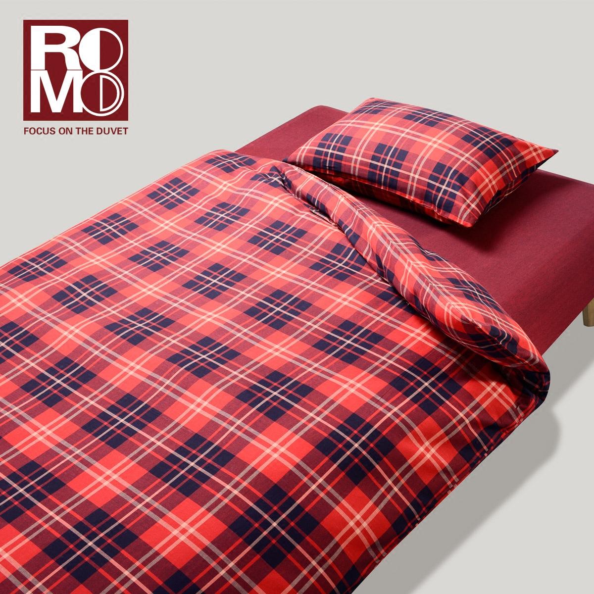 Romo/绒慕法兰绒床上用品全棉磨毛四件套格子床单式