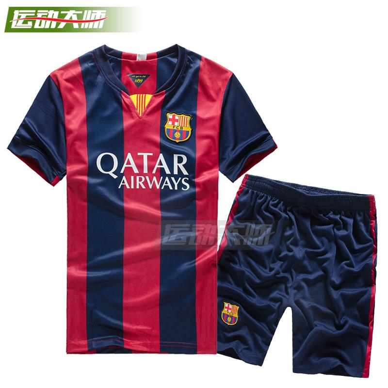 巴萨皇马AC米兰新足球新款v足球服赛季足球服短款套装短袖球衣包邮