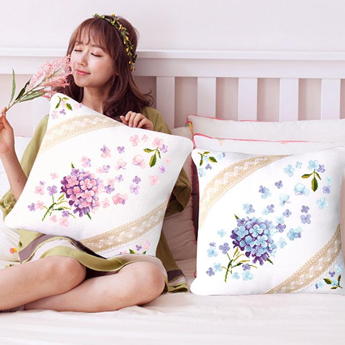 印花十字绣抱枕情侣2018线绣新款沙发抱枕客厅十字绣枕头靠垫一对
