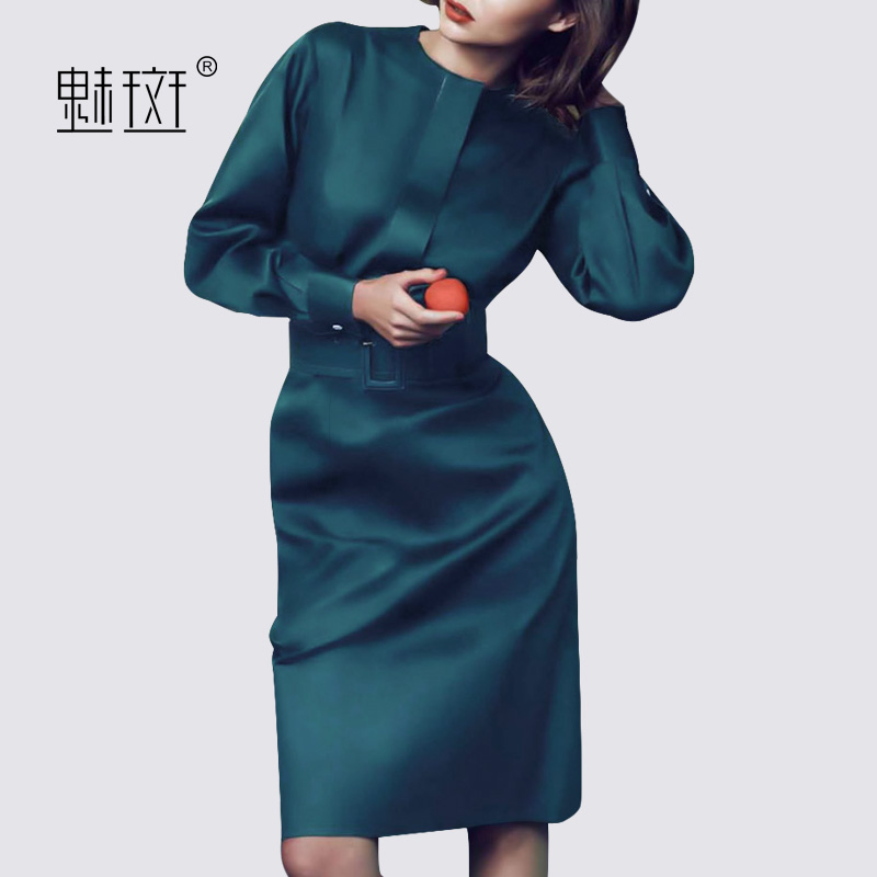 Charm spot 2017 long-sleeved dress autumn Europe and the United States large size in the long section of the waist slim was thin solid color women's skirt