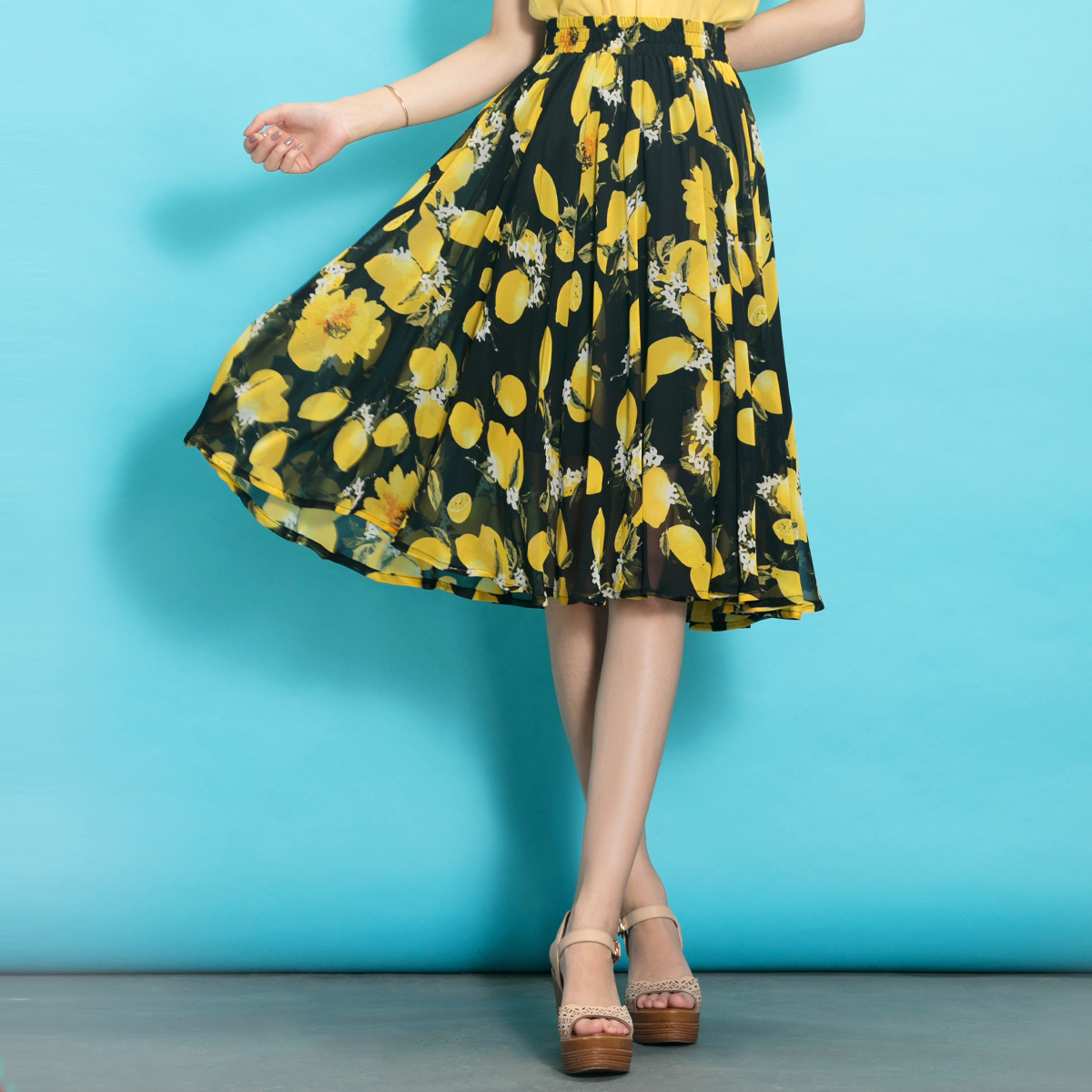 春夏半身长裙修身雪纺裙碎花半身裙中长款半裙松紧腰大摆裙a字裙