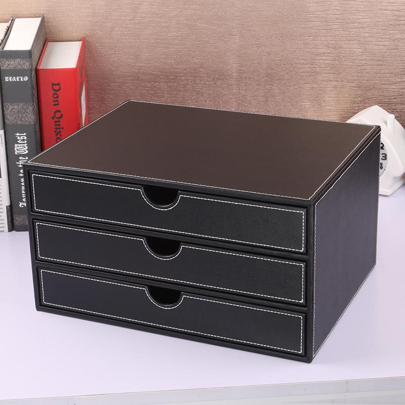 Ya Chen Shi Creative Leather File Cabinet Three Tier Office Storage Box Desktop Finishing Frame Korea