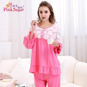 粉色甜依春秋季女士长袖长裤舒适莫代尔家居服甜美蕾丝睡衣套装