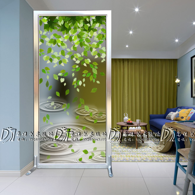 Art Glass Modern Background Hallway Shoe Cabinet Screen Partition  Double Sided Simple Light Transparent Living Room Tempered Green Leaves Part 78