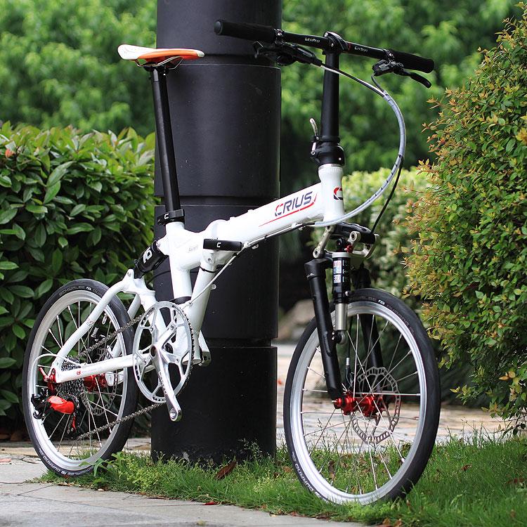 超轻全气压避震20寸铝合金折叠自行车 crius柯瑞斯 10速 油碟