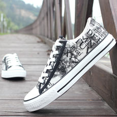 Spring and autumn men's low canvas shoes men's shoes Korean sports shoes breathable student graffiti cloth shoes casual shoes