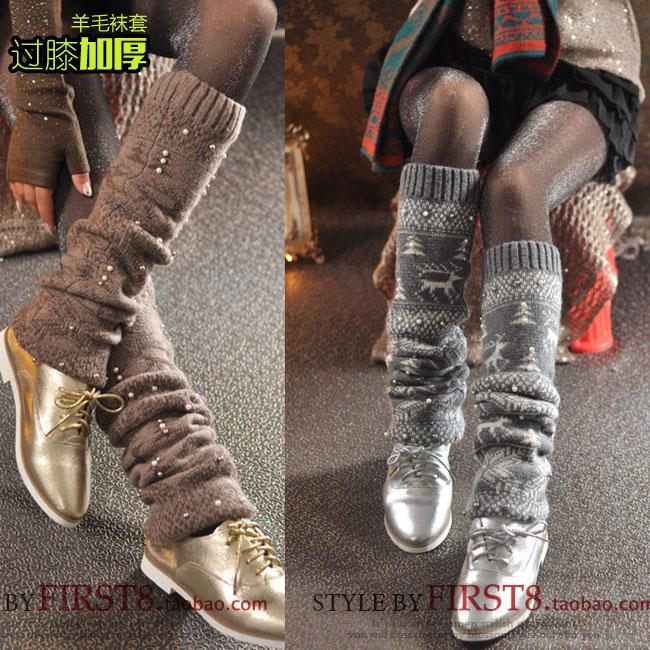 包邮秋冬加厚复古堆堆袜短靴袜高筒袜韩国堆堆袜套过膝长袜子女