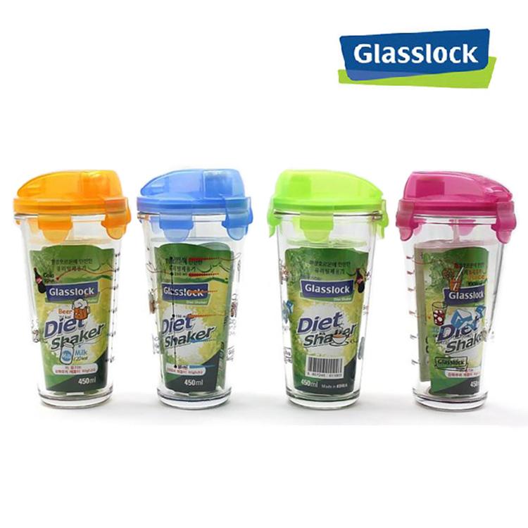 韩国glasslock玻璃乐扣乐扣玻璃水杯带盖PC318带刻度450ml摇摇杯