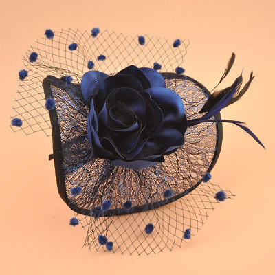 Party Mesh Hat Euro-American retro lace screen hat, hairdress, cloth, big flower bow, headdress, performance Hairband