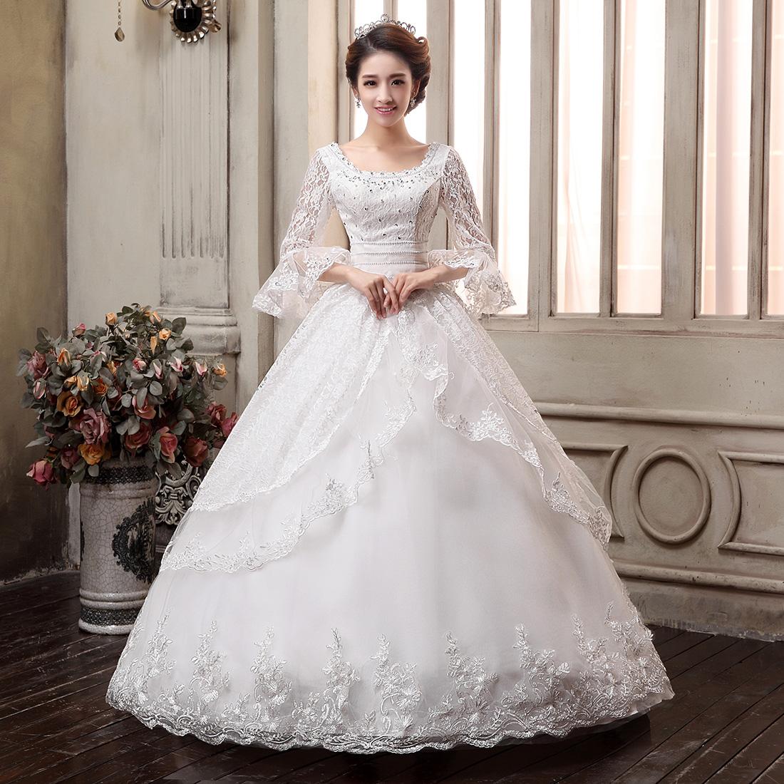 韩式新娘孕妇婚纱高腰加大码婚纱礼服胖mm显瘦2015新款齐地秋冬季