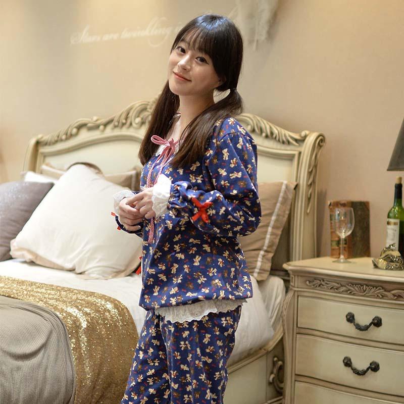 斯服玛睡衣 女春秋款韩版七分袖pink宽松休闲家居服女夏薄款套装