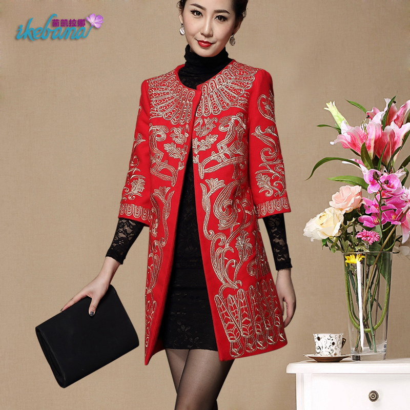 羊毛呢外套婚宴妈妈装宽松大码中长款呢子大衣刺绣中老年女装冬装