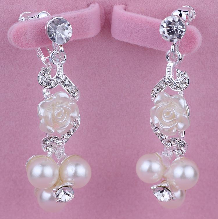 新娘白色韩式珍珠水钻耳环耳饰耳夹耳针纯手工耳坠无耳洞结婚饰品