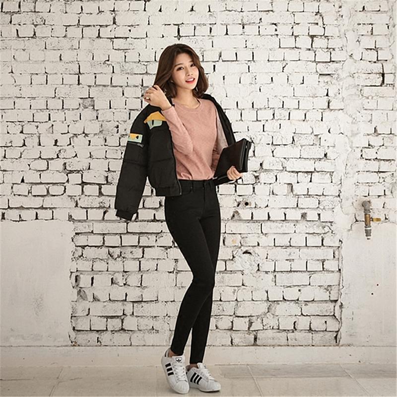 Noir taille haute jeans neuf cent crayon pantalons hiver nouveau code big slim stretch étudiant