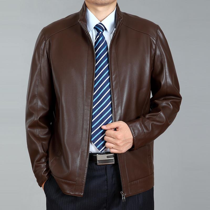 2015春秋装新款男式仿真皮衣中年男士皮夹克立领薄款男装外套包邮