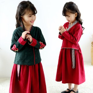 Children's improved Hanfu children's clothing girls retro Chinese style Tang suit dress spring and autumn baby national style ancient costume