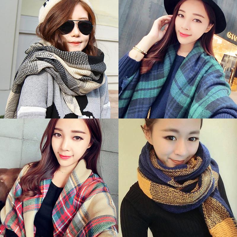 女冬季百搭针织毛线韩版格子围巾围脖加厚学生围巾披肩两用超长款