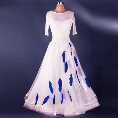 Ballroom Dance Dresses Feather style costume luxury modern dress skirt national standard dress competition Skirt Waltz skirt
