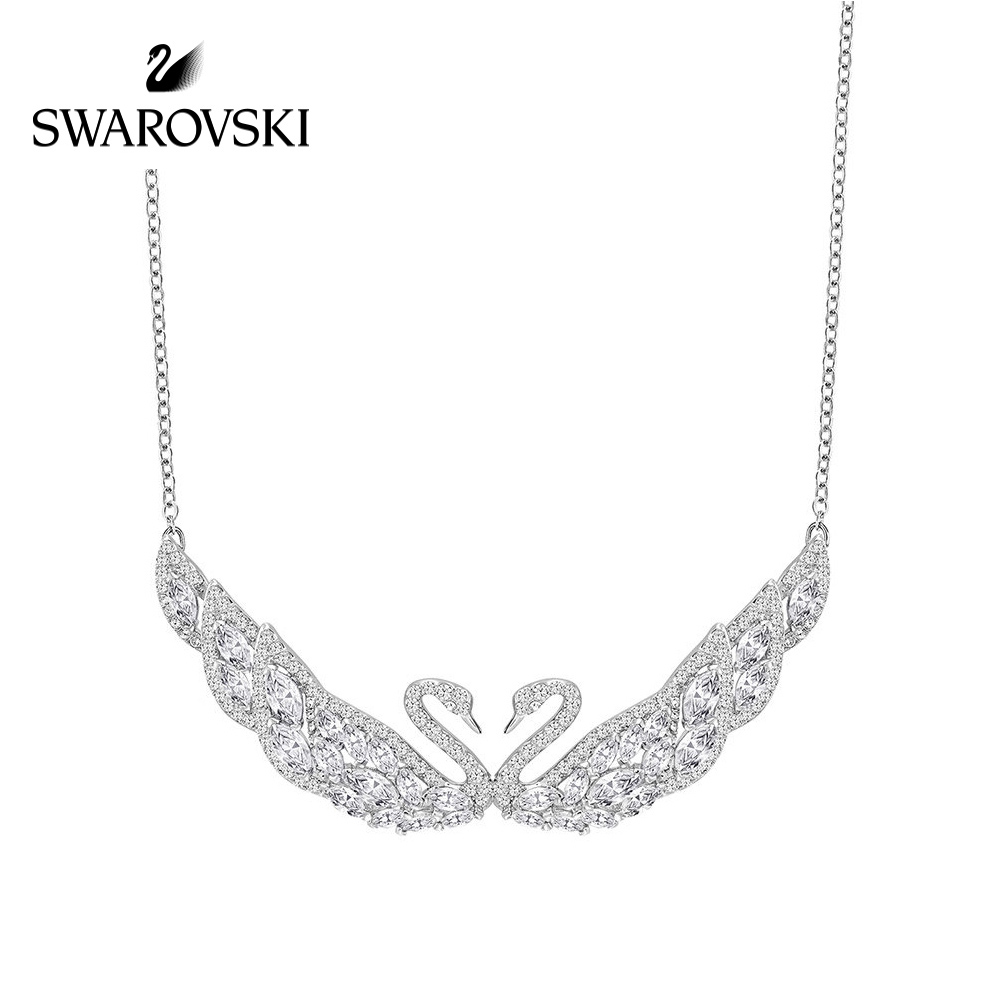 ae2d35184 Swarovski SWAN LAKE double swan necklace female Crystal texture clavicle  Chain jewelry