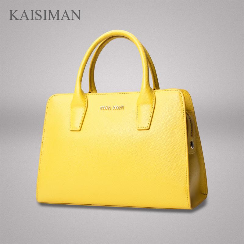 凯思曼新款波士顿包牛二层皮女包单肩斜挎手提女式真皮包厂家直销