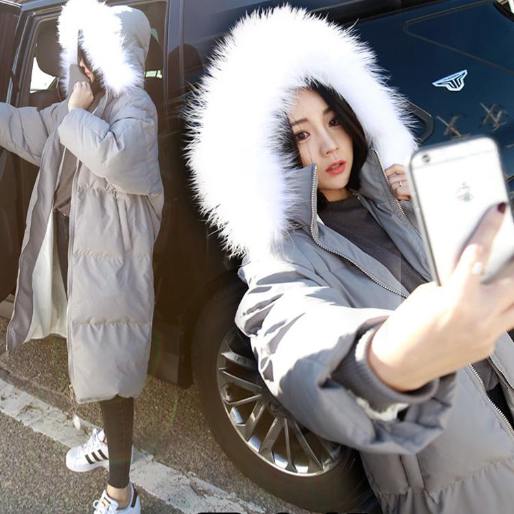 2015冬季韩版新款女装过膝长款棉衣时尚修身显瘦连帽棉服女外套潮