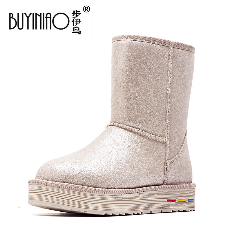 包邮2015秋冬加绒雪地靴女中筒加厚保暖低跟雪地棉靴防滑平底靴子