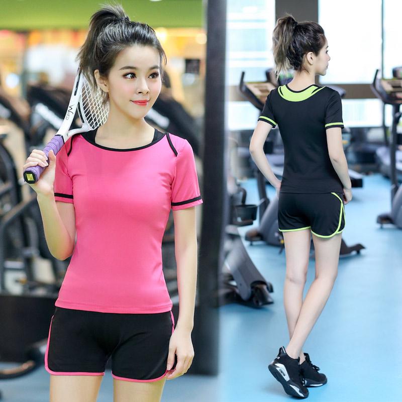 韩国速干透气显瘦瑜伽服健身服套装女紧身春夏款运动跑步上衣N