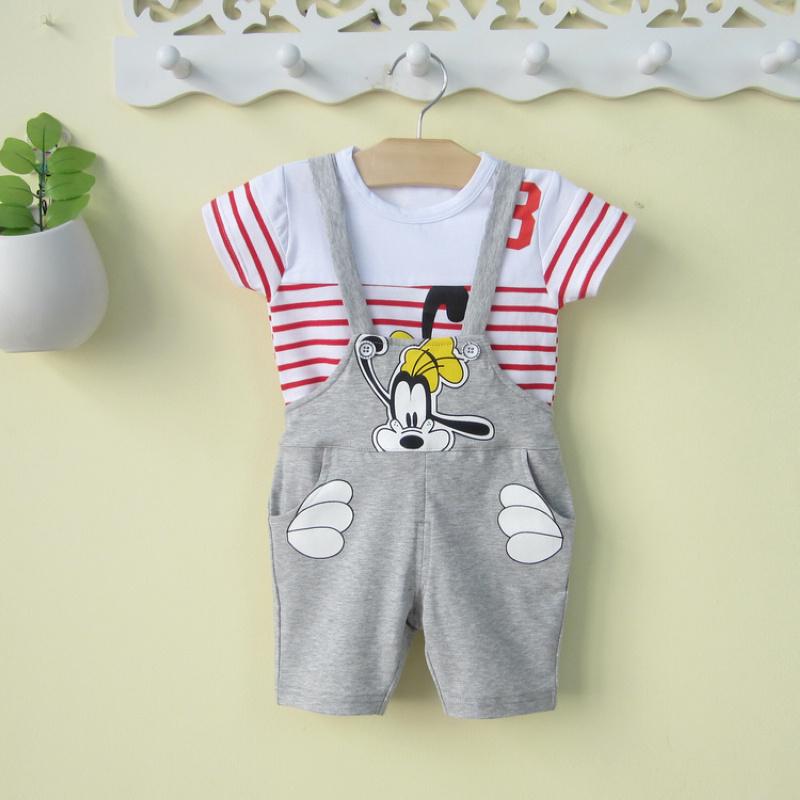 男宝宝春装套装0-1-2岁婴儿三件套纯棉连体背带裤子长袖T恤含帽子