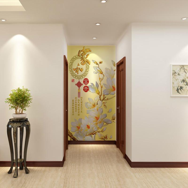 电视背景墙壁纸客厅玄关中式3d立体墙纸家和万事兴家和富贵
