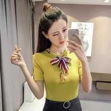 新款韩版女修身显瘦系带蝴蝶结冰丝T恤