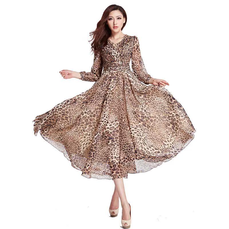 外贸原单正品余单 豹纹雪纺前短后长松紧腰连衣裙长裙 配腰带1085