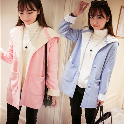 Autumn self-cultivation women's wool coat large size students wear woolen coat long section girl hooded warm jacket