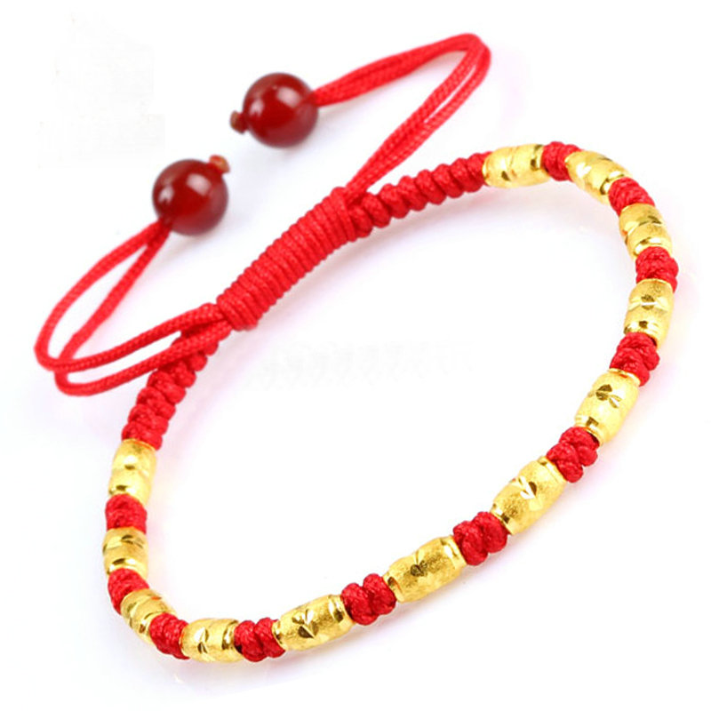金刚结本命年红绳24K纯金转运珠手链男女手编 金珠红绳手链情侣