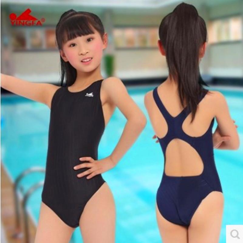 英发经典三角耳塞款女儿童游泳衣训练比赛连体款送鼻夹专业