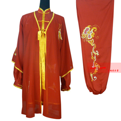 Martial Arts Clothes  Kungfu clothes Tai Chi costume show dress practice gown embroidery butterfly flower men and women Tai Chi Competition morning exercise dress red martial arts clothes