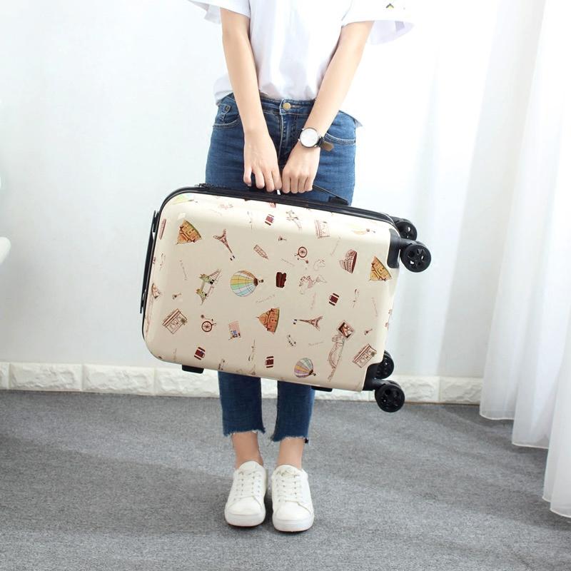 Милый печать багажник род коробки женщина маленький корейский свежий чемодан колесного пароль коробка дэн шасси 20 дюймовый