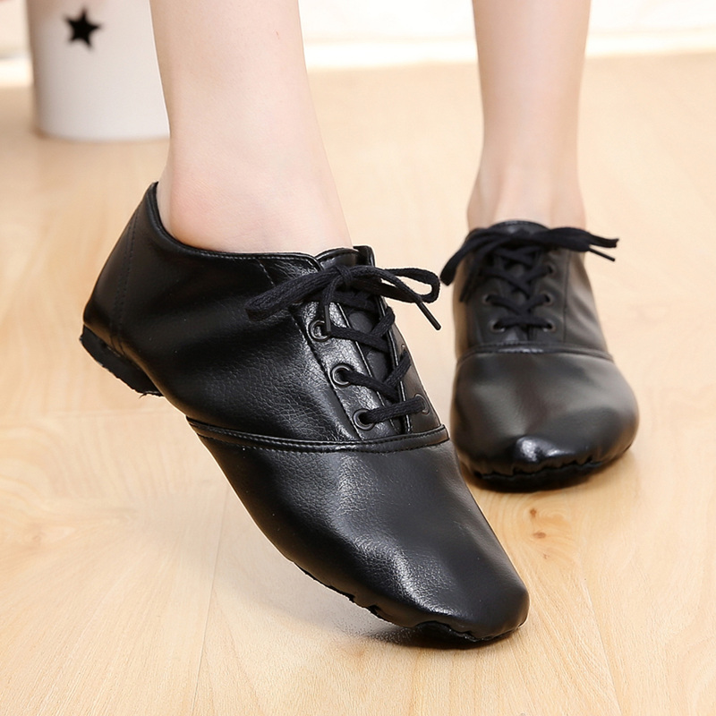 Dance Shoes Women Soft Bottom Jazz Shoes Low Cut Leather Jazz Boots