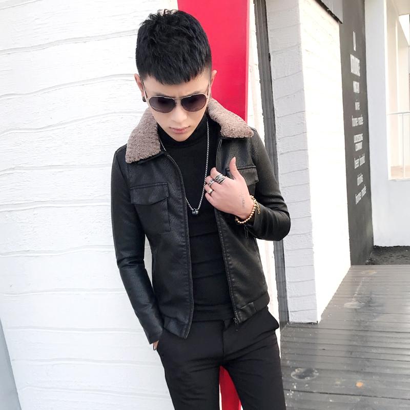 皮衣男式冬季羊羔毛领加绒修身韩版潮流夹克帅气机车青年外套短款