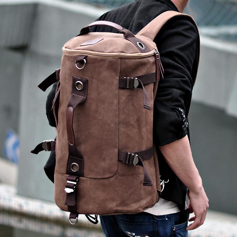 大容量筒包男双肩包潮男帆布包户外旅行背包圆筒包多功能双肩背包