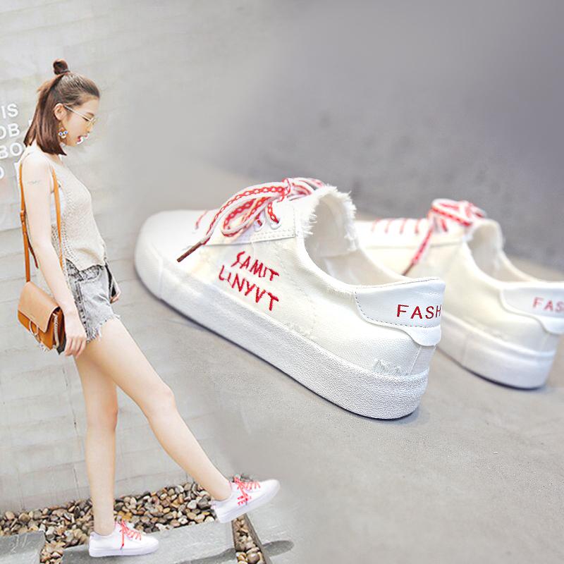 Hàn quốc phiên bản của hoang dã giày trắng nữ 2018 mùa hè mới in giày vải sinh viên mùa xuân Harajuku ulzzang giày