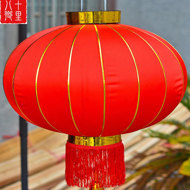 灯笼大红灯笼户外装饰灯笼春节元旦防水新年喜庆小红绸布过年挂饰