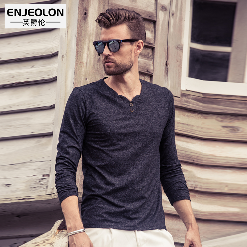 British Grand autumn new men's long sleeve t shirt v neck button decorative Europe contracted bottoming shirt cotton