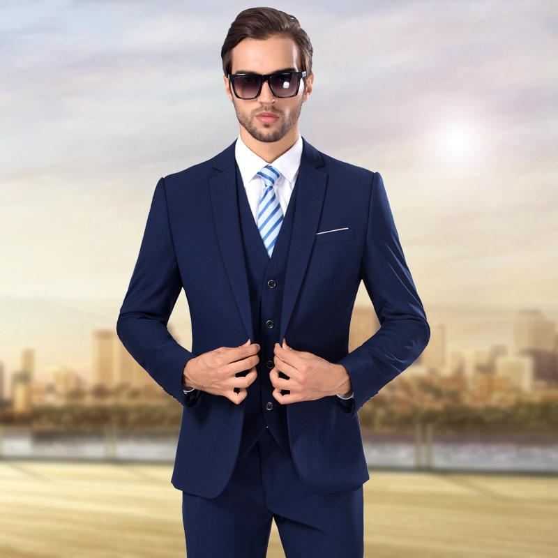 西猛2015夏季男装韩版修身男士西服套装结婚礼服男士三件套薄西装