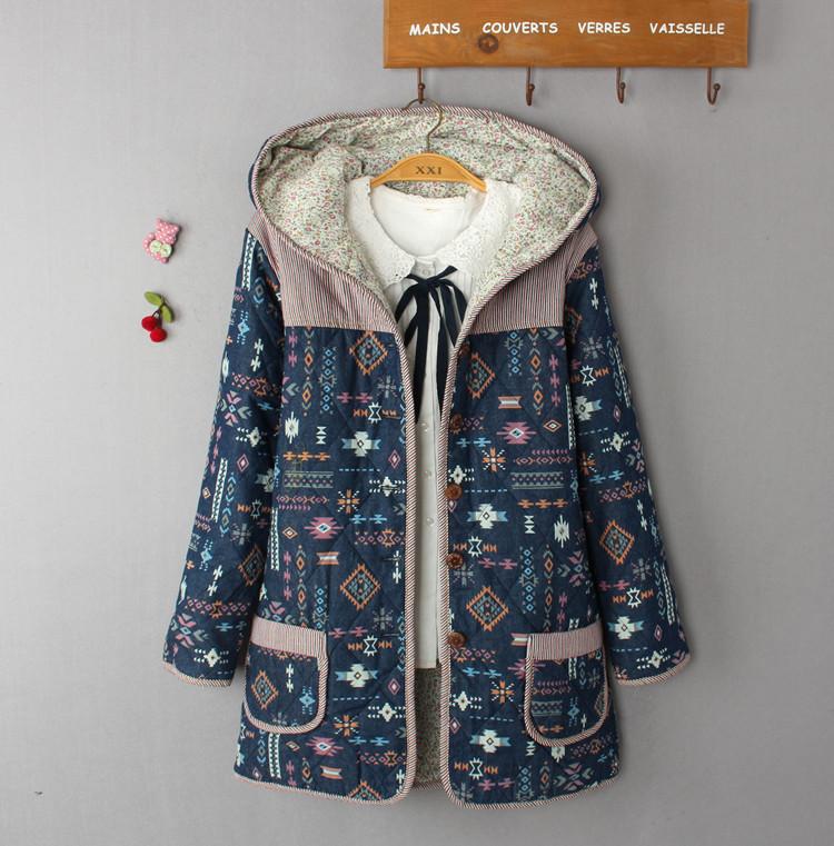 2016冬季女装新品时尚碎花棉衣女中长款修身棉服韩国棉袄裙摆外套