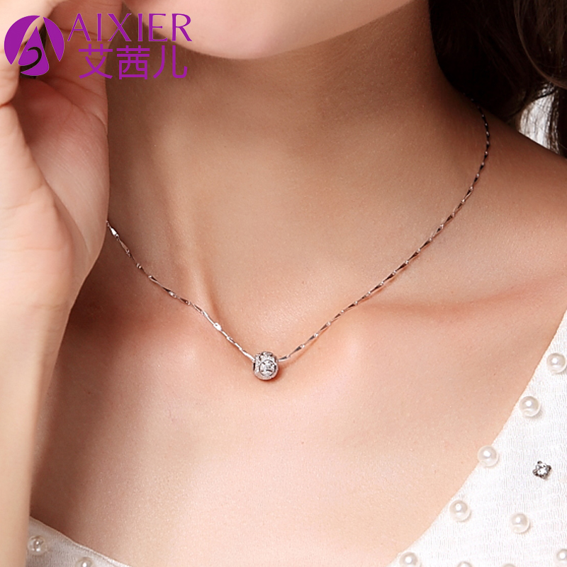 Birthday Gift Girl Transfer Beads 925 Silver Necklace Female Short Clavicle Chain Accessories Girlfriends Jewelry