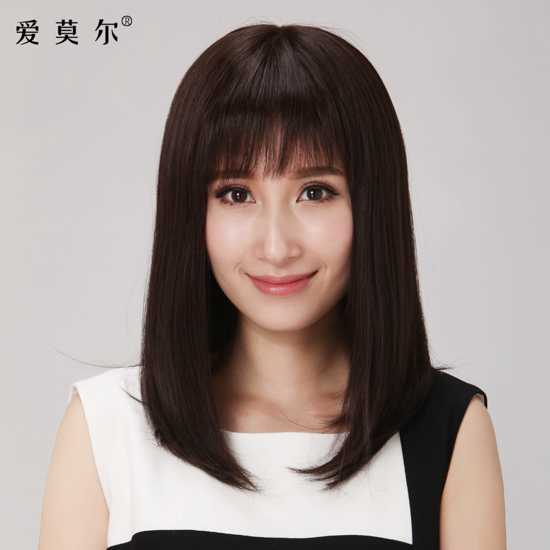 Love Moore Wig Female Long Straight Hair Real Hair Air Bangs Round
