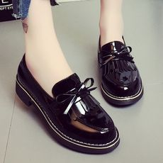 College style retro tassel plus velvet small shoes 2018 autumn and winter new England wind single shoes thick with thick bottom women's shoes