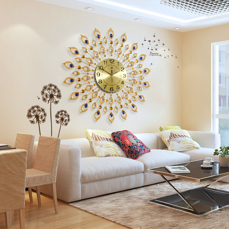 Living room modern decor wall clock bedroom mute hanging table ...