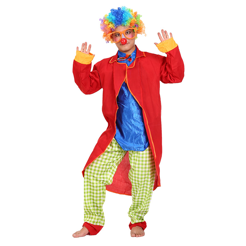 Halloween red clown costume clown clothes clown costume adult male red cloak costume suit